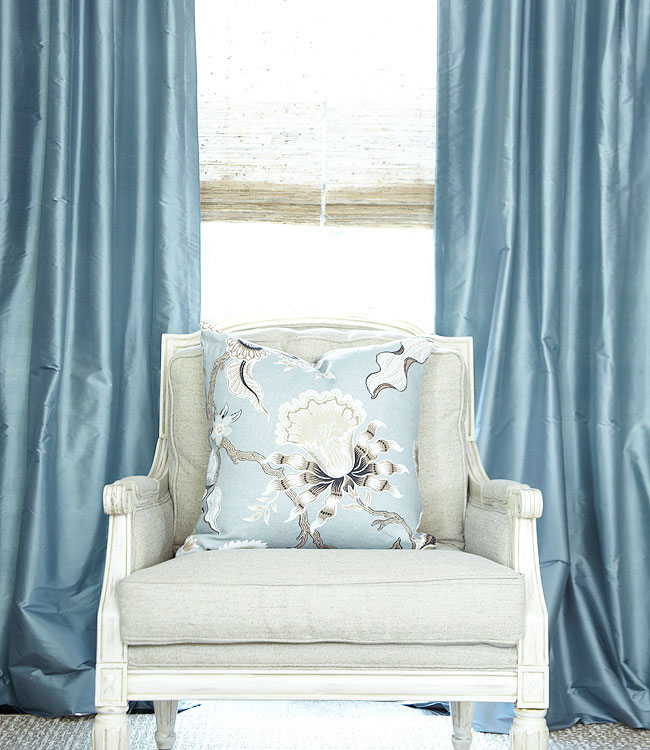 Solid Silk Dupioni in French Blue